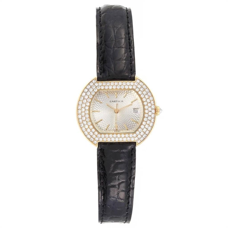 Cartier Tortue 18 Karat Yellow Gold Diamond Silver Dial Ladies Watch 1481 In Good Condition For Sale In Atlanta, GA