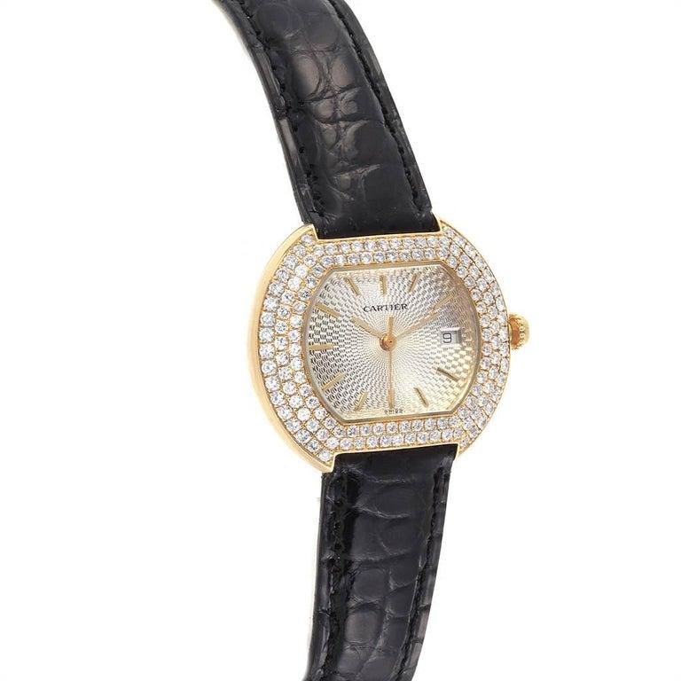 Women's Cartier Tortue 18 Karat Yellow Gold Diamond Silver Dial Ladies Watch 1481 For Sale