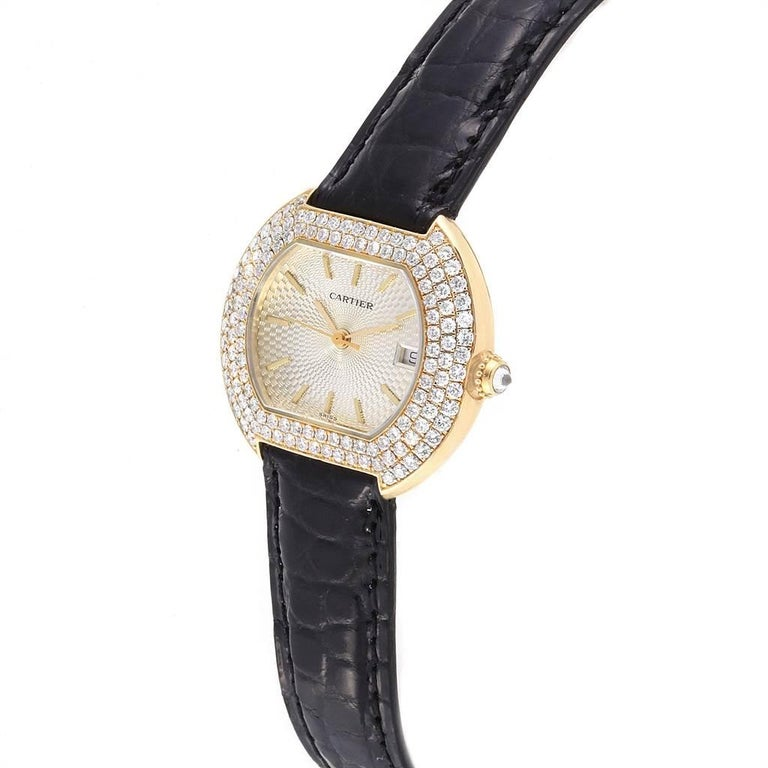 Cartier Tortue 18 Karat Yellow Gold Diamond Silver Dial Ladies Watch 1481 For Sale 1