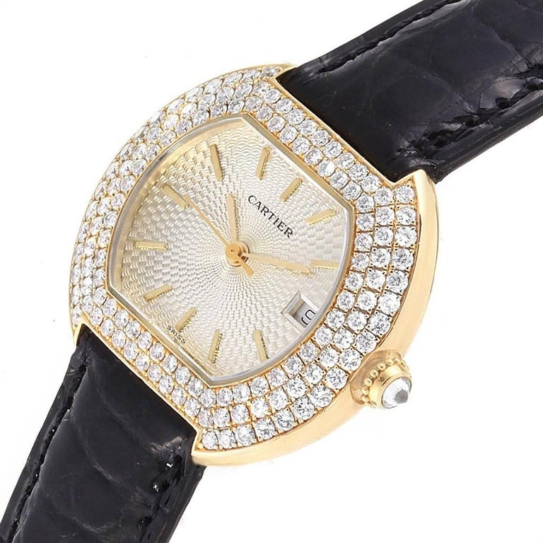 Cartier Tortue 18 Karat Yellow Gold Diamond Silver Dial Ladies Watch 1481 For Sale 2