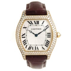 Cartier Yellow Gold Diamond Tortue Large Manual Wind Wristwatch Ref 2496