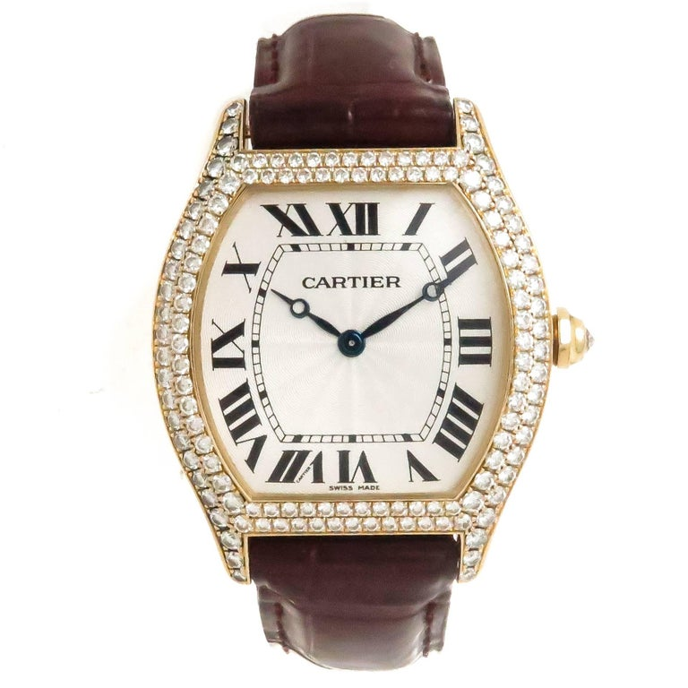 Cartier Diamond Yellow Gold Tortue Large Manual Wind Wristwatch Ref 2496