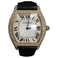 Cartier Tortue Paris Diamond 18 Karat Yellow Gold Manual Wind Unisex Watch 2496