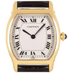 Cartier Tortue Privee Collection Ladies Yellow Gold Silver Roman Dial W1531851