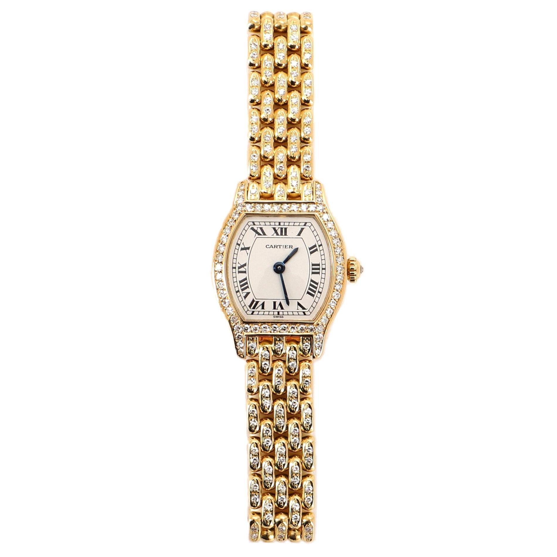 Cartier Tortue Quartz Watch Watch Yellow Gold and Diamonds 20