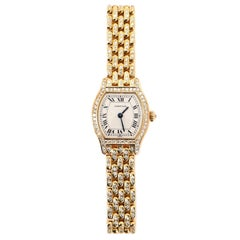 Cartier Tortue Quartz Watch Yellow Gold and Diamonds 20