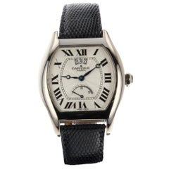 Cartier Tortue Reserve de Marche Big Date White Gold Watch W1542751 Box Papers