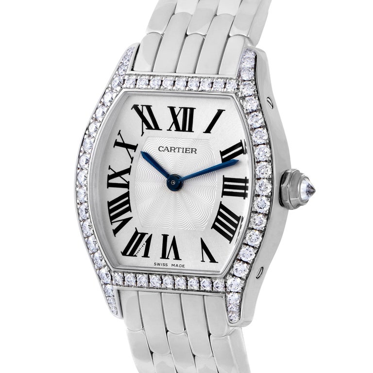 Fine finishes, tasteful harmony and prestigious diamond brilliance combine exceptionally well to produce an irresistible sight in this remarkable Tortue timepiece from Cartier which employs fantastic minimalism and focuses on the very essentials of