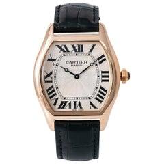 Cartier Tortue XL 2763J Men's Automatic Cream Dial Watch 18 Karat Rose Gold