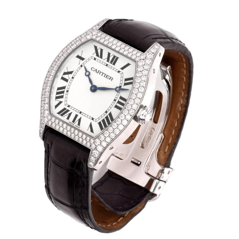 1c995ea440d97 Cartier Tortue XL Large Women Watch Factory Diamond Reference 2497 In  Excellent Condition For Sale In