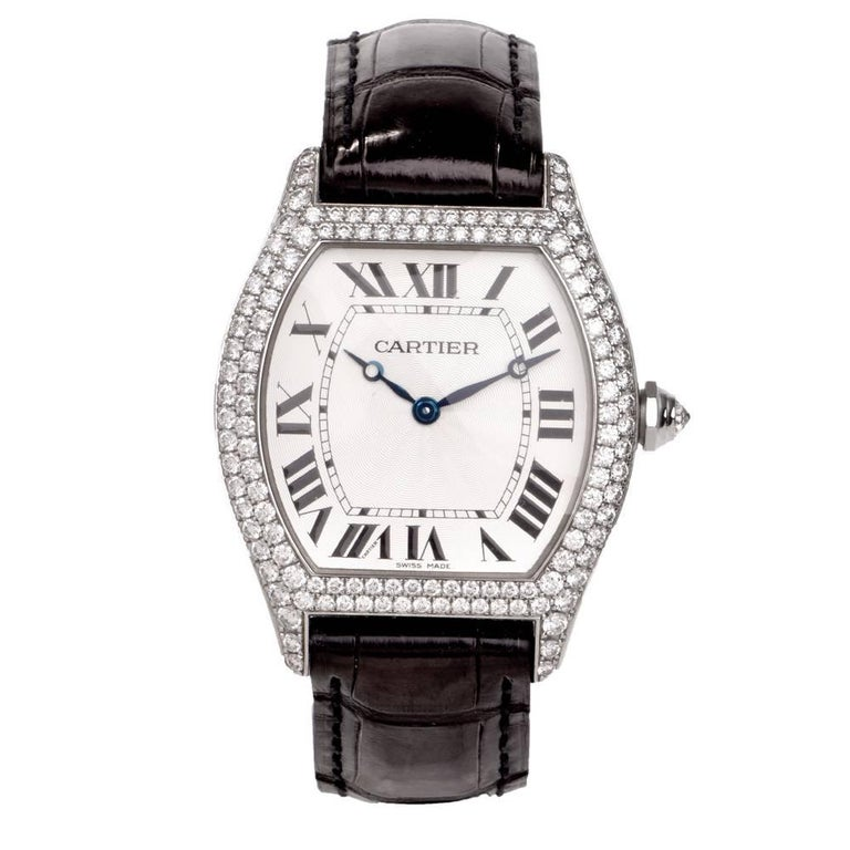 e2408deaf38e1 Cartier Tortue XL Large Women Watch Factory Diamond Reference 2497 For Sale