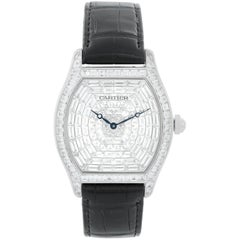 Cartier Tortue XL White Gold Diamond Dial Ladies Watch HP100502