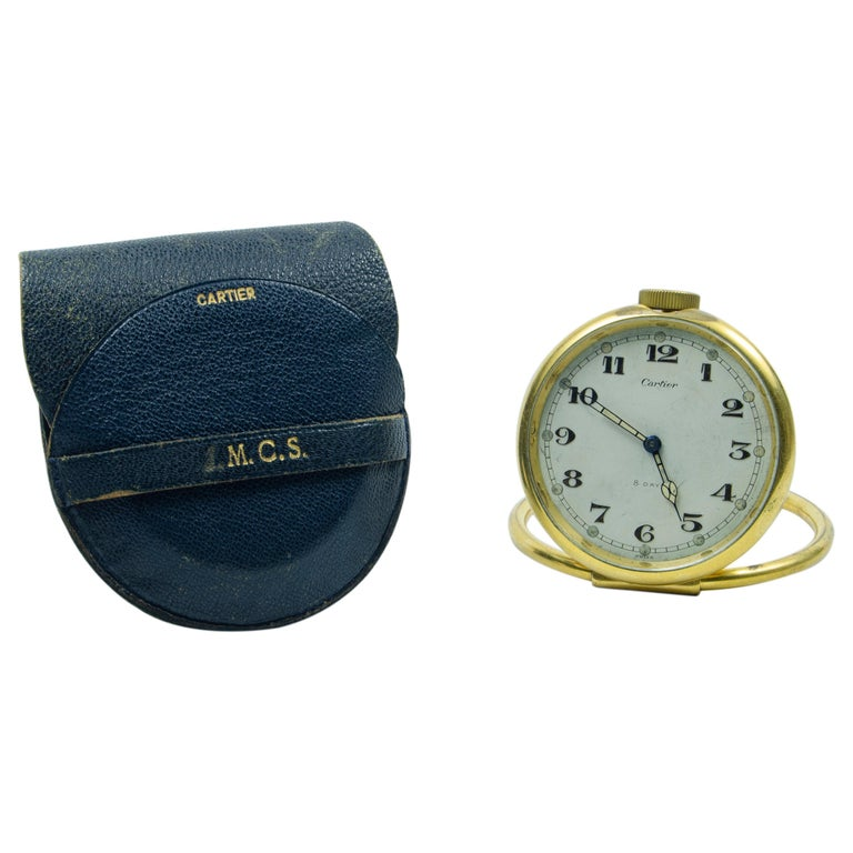 Cartier Travel Clock 'on Table' For Sale