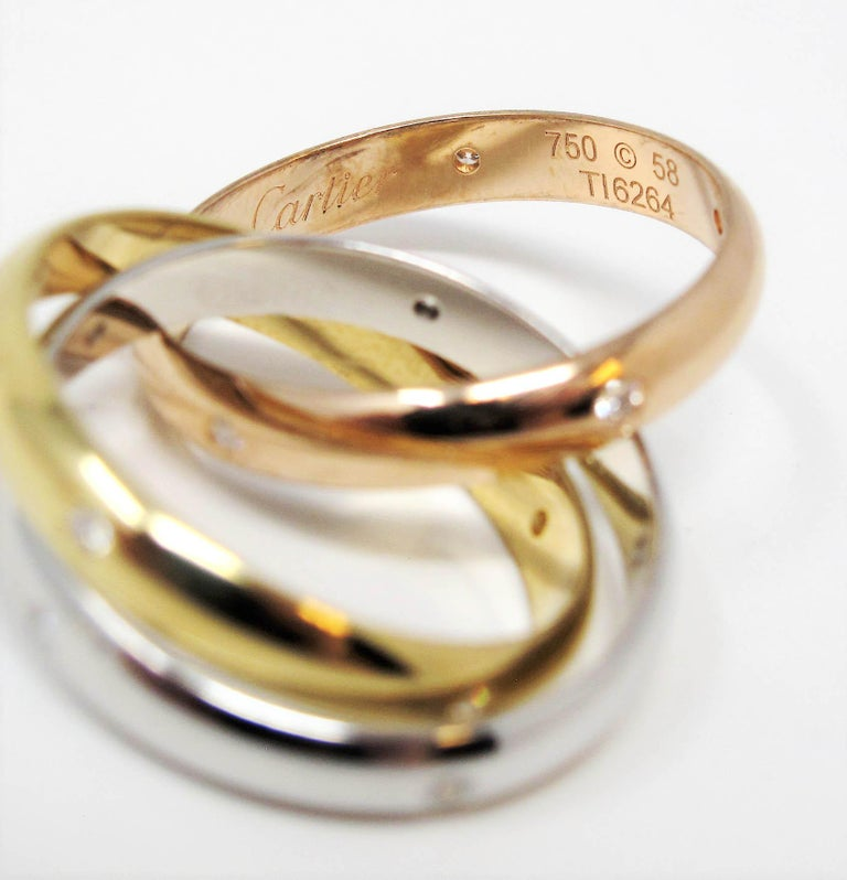 Cartier Tri Color 18 Karat Gold and .19 Carat Total Diamond Trinity Band Ring For Sale 6