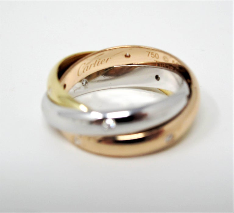 Cartier Tri Color 18 Karat Gold and .19 Carat Total Diamond Trinity Band Ring For Sale 7