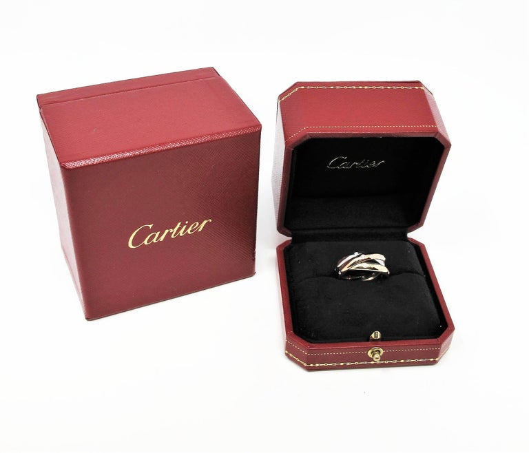 Round Cut Cartier Tri Color 18 Karat Gold and .19 Carat Total Diamond Trinity Band Ring For Sale