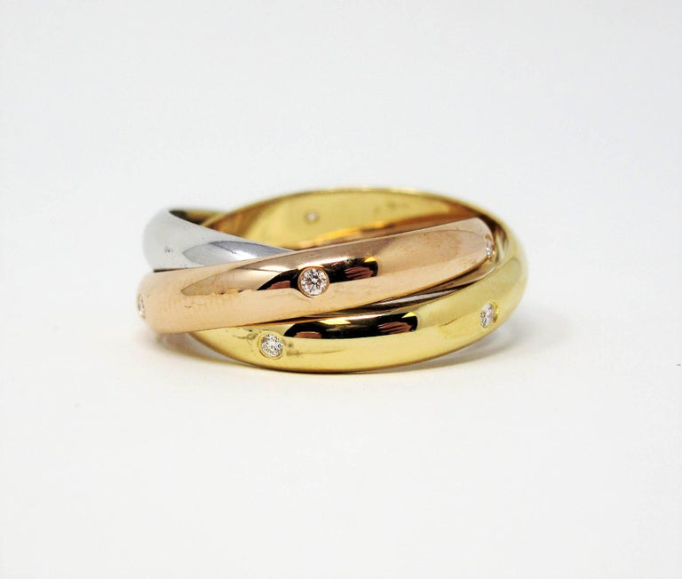 Cartier Tri Color 18 Karat Gold and .19 Carat Total Diamond Trinity Band Ring In Good Condition For Sale In Scottsdale, AZ