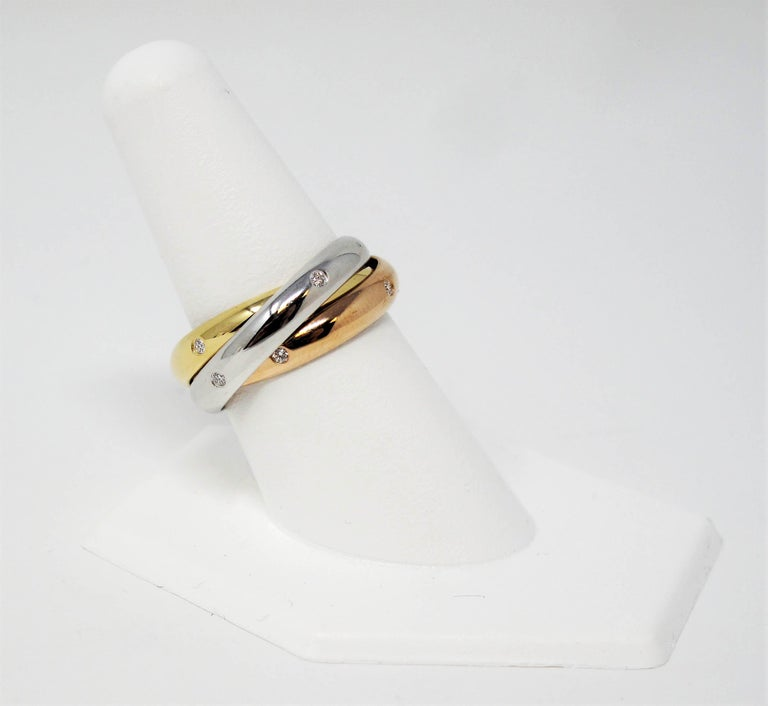 Cartier Tri Color 18 Karat Gold and .19 Carat Total Diamond Trinity Band Ring For Sale 1