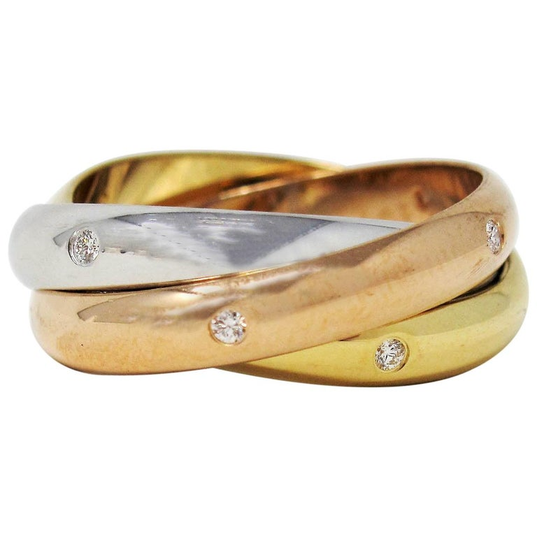 Cartier Tri Color 18 Karat Gold and .19 Carat Total Diamond Trinity Band Ring For Sale