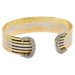 Cartier Tri-Color 18 Karat Gold Trinity Diamond Double C Cuff Bracelet