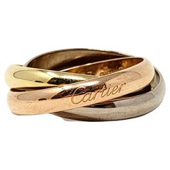 Cartier Tri Color 18 Karat Yellow, Rose and White Gold Trinity Band Ring