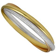 Cartier Tri Color Diamond Trinity Bangle Bracelet