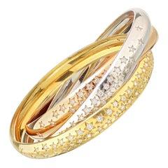 Cartier Tri-Color Gold 3.50ctw Pave Diamond Star Trinity Slip on Bangle Bracelet