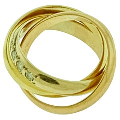 Cartier Tri Color Gold and 5 Diamond Ring 18 Karat Yellow Gold
