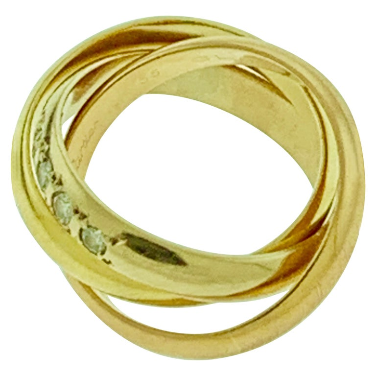 Cartier  Trinity, Tri Color Gold and 5 Diamond Ring 18 Karat Yellow Gold For Sale