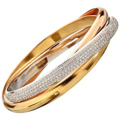 "Cartier Tri Color Gold Trinity De ""One"" Diamonds White Yellow and Rose Bangle"
