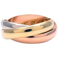 Cartier Tri Color Gold Trinity Ring 18 Karat Gold 13.9g
