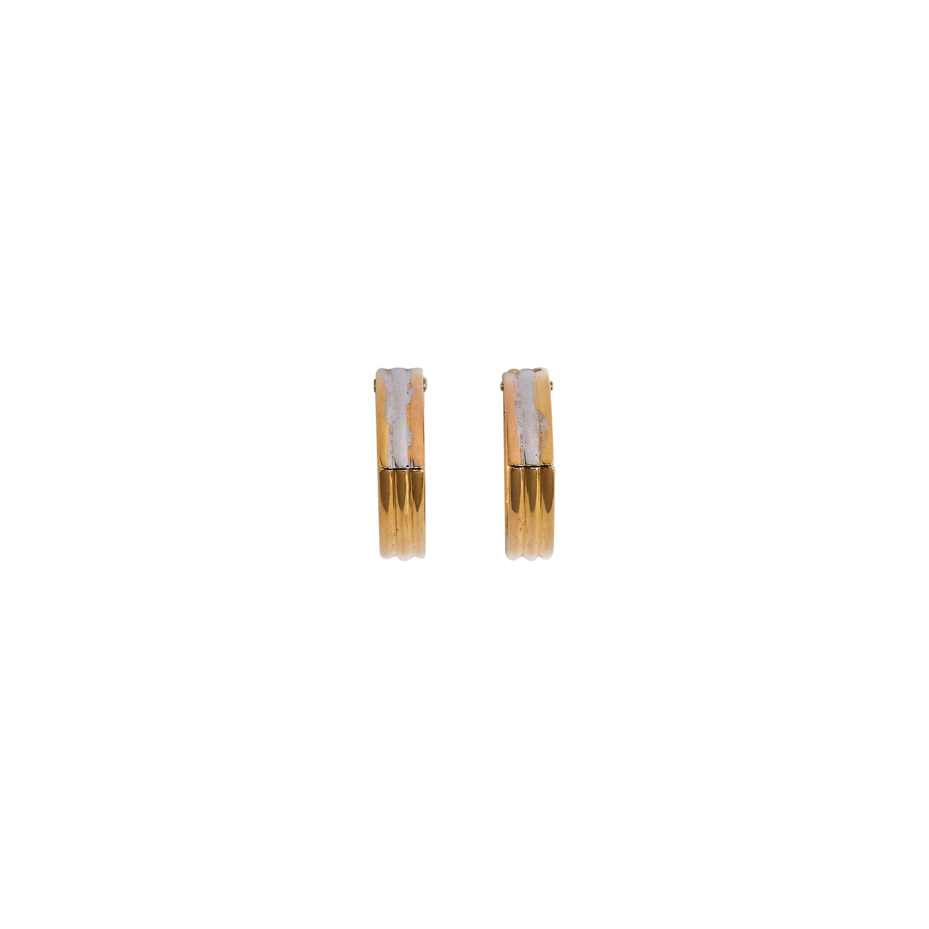 Cartier Tri-Color Triangle 18k Gold Earrings