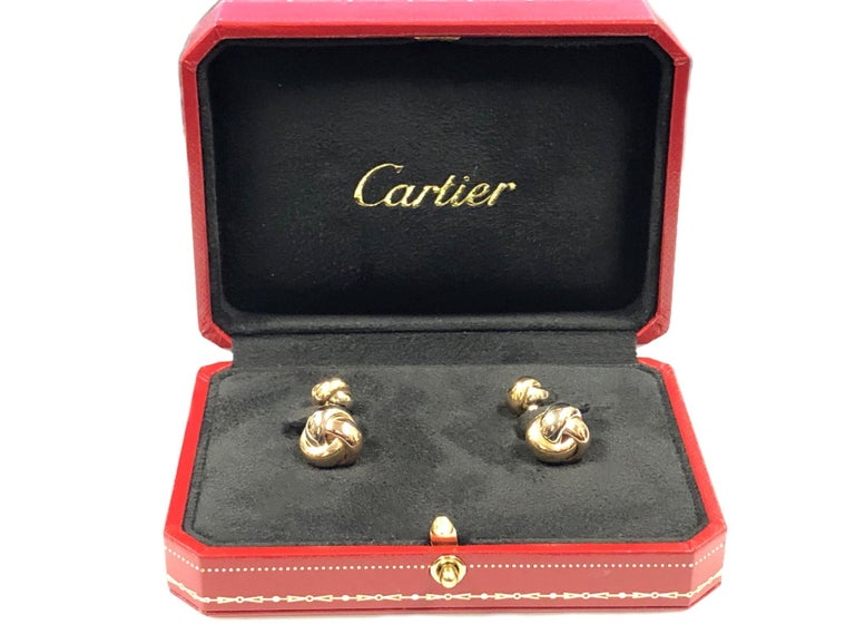 Cartier Tri Color Trinity Knot Cufflinks For Sale 1