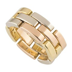 Cartier Tri-Color Gold Maillon Panthere Band Ring