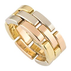 Cartier Tri-Colour Maillon Panthere Links and Chain Collection Band Ring
