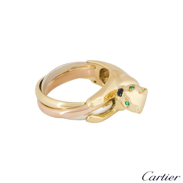 Cartier Tri-Colour Onyx and Emerald Panthere Ring In Excellent Condition For Sale In London, GB