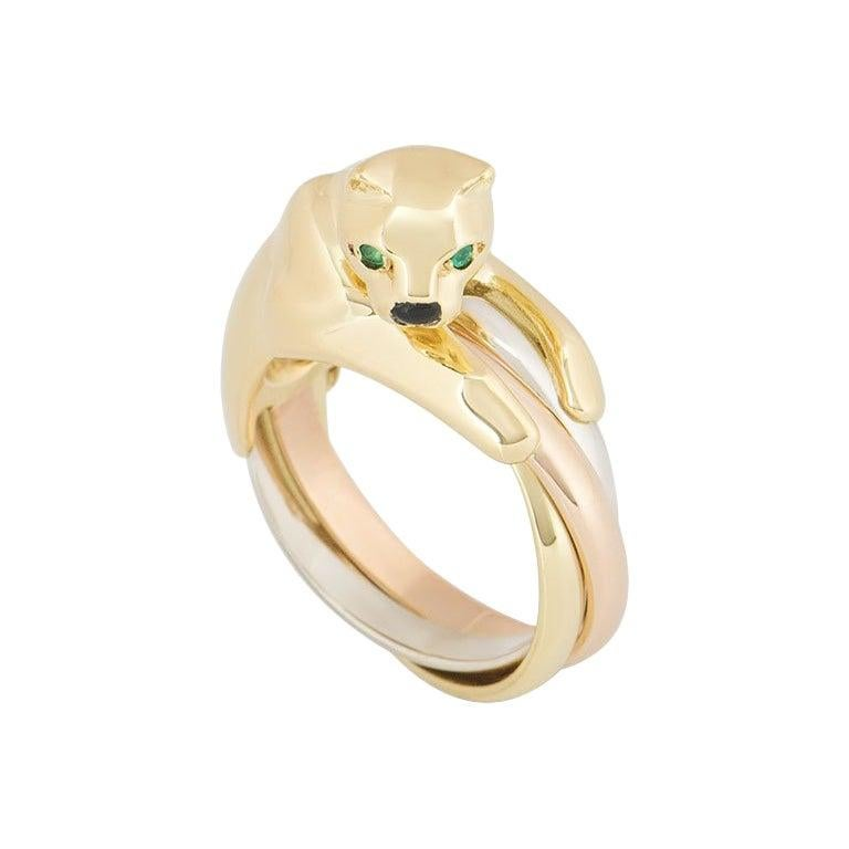 Cartier Tri-Colour Onyx and Emerald Panthere Ring For Sale
