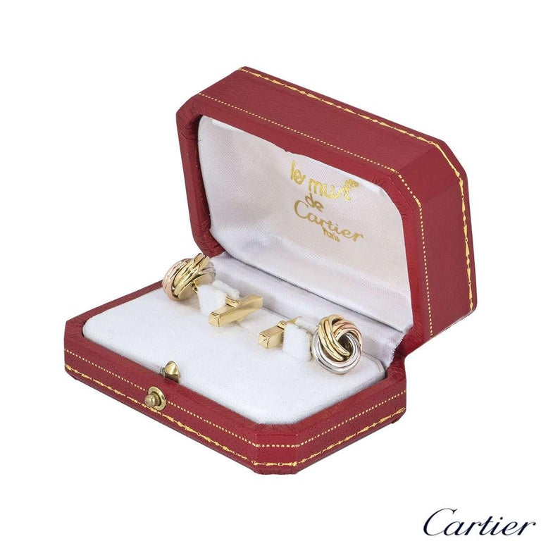Women's or Men's Cartier Tri-Colour Trinity Gold Cufflinks For Sale