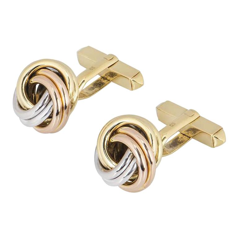 Cartier Tri-Colour Trinity Gold Cufflinks For Sale