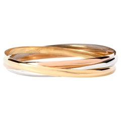Cartier Tri-Tone 18 Karat Interlocking 3 Bangle Trinity Bracelet