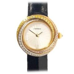 Cartier Tricolor Gold and Fancy Color Diamonds Trinity Ladies Quartz Wrist Watch