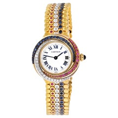 Cartier Trinity 18 Karat Tri Color 2357 Sapphire, Ruby, and Diamond Ladies Watch