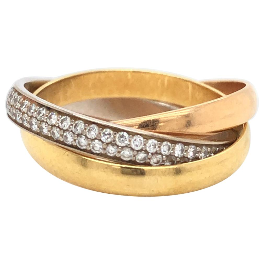 Cartier Trinity 18 Karat Tricolor Gold Brilliant-Cut Diamond Rolling Band Ring