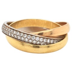 Cartier Trinity 18 Karat Tricolor Gold Brilliant-Cut Diamond Rolling Band Ring