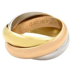 Cartier Trinity 18 Karat White Yellow and Pink Gold Classic Band Ring