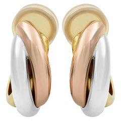 Cartier Trinity 18 Karat White Yellow and Rose Gold Hoop Clips