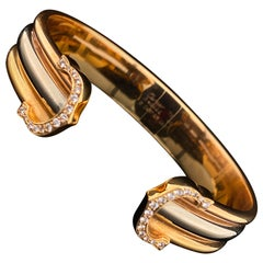 Cartier Trinity 18 Karat Yellow White and Rose Gold Cuff Bracelet