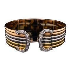 Cartier Trinity 18 Karat Yellow White and Rose Gold Cuff Bracelet