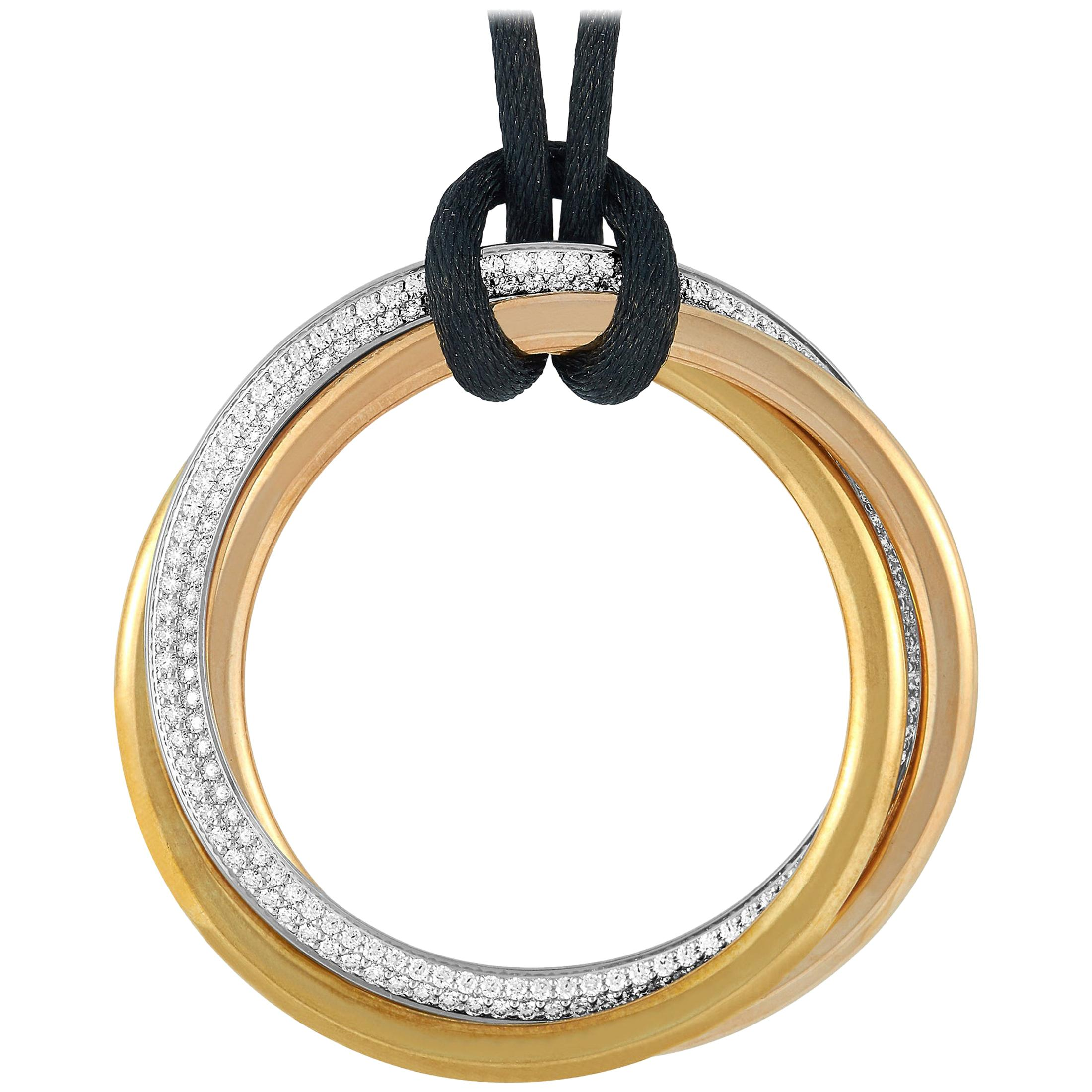 Cartier Trinity 18 Karat Yellow, White and Rose Gold Diamond Silk Cord Necklace