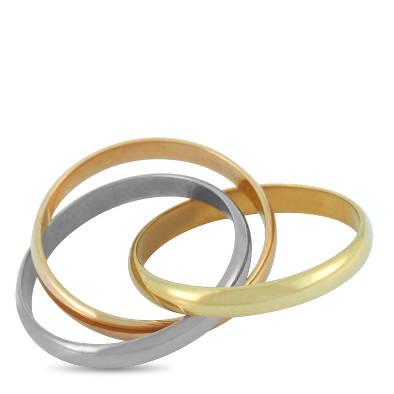 Cartier Trinity 18 Karat Yellow, White and Rose Gold Ring In Excellent Condition For Sale In Southampton, PA